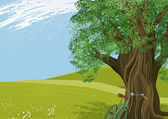 Vector illustration of an old tree in a meadow All objects are separated to layers