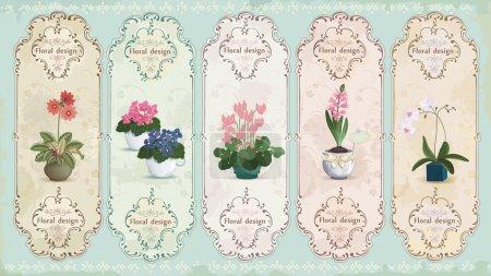 Illustration pour Ensemble d'étiquettes vintage avec des fleurs en pot - image libre de droit