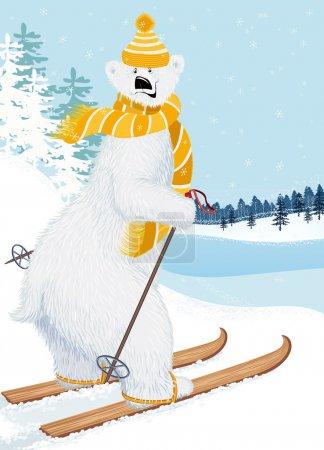 Illustration for Cute shaggy polar bear skiing - Royalty Free Image