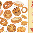 Set of pastry isolated over white background...