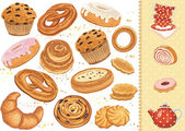 Set of pastry isolated over white background