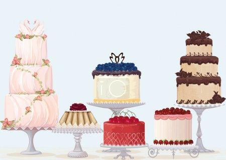 Illustration pour Vecteur collection de gâteaux fantaisie sur fond bleu . - image libre de droit