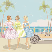 Three women at the sea