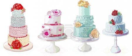 Illustration pour Collection de gâteaux crémeux vectoriels isolés sur fond blanc - image libre de droit