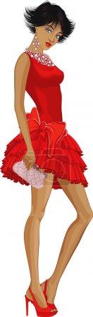 Illustration pour Belle jeune femme vêtue de vêtements élégamment rouges isolés sur fond blanc - image libre de droit