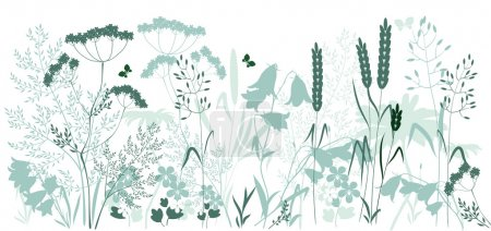 Illustration for Wild grasses and a butterfly in blue and green colors - Royalty Free Image