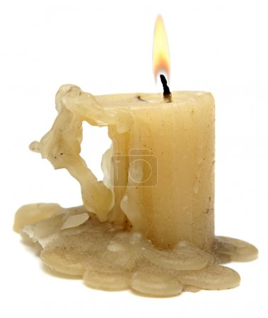 Old candle isolated on white background