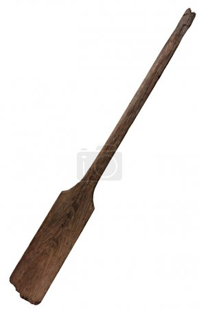 Old wooden weathered paddle (oar) with stains and cracks, isolated on white