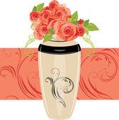Pink roses in the ceramic vase