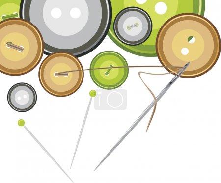 Illustration pour Boutons, aiguille à coudre avec fil. Illustration vectorielle - image libre de droit