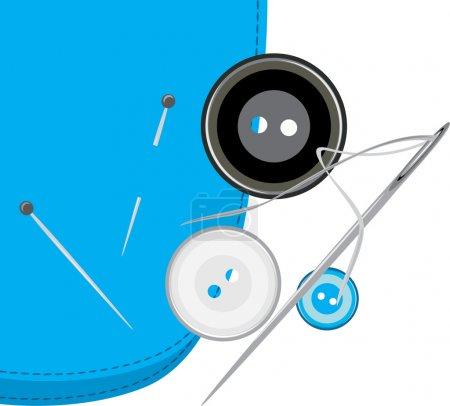 Illustration pour Boutons, aiguille à coudre avec fil sur le tissu. Illustration vectorielle - image libre de droit