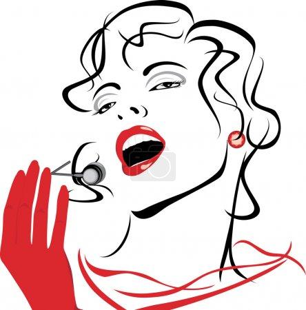 Illustration pour Portrait d'une belle chanteuse. Illustration vectorielle - image libre de droit
