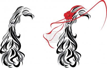 Illustration pour Élégante coiffure féminine. Illustration vectorielle - image libre de droit