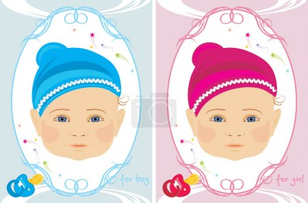 Greeting cards for little boy and girl