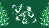 Candy canes and shining Christmas trees on the dark green background