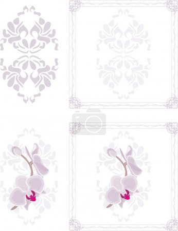 Ornamental frames with orchid flowers