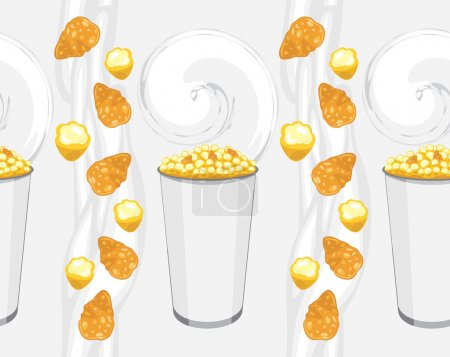 Seamless background with corn flakes and popcorn products