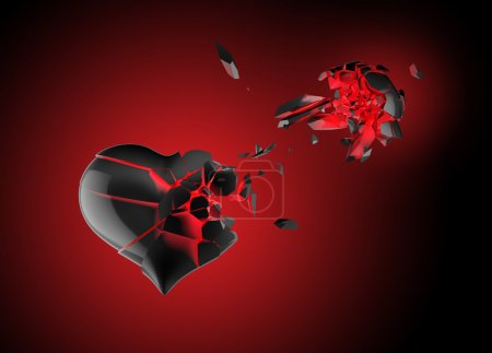 Photo for Black abd red broken heart - Royalty Free Image
