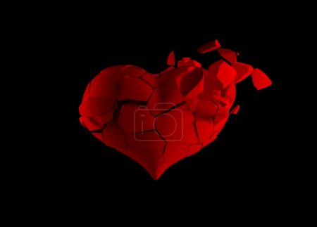 Photo for Red broken heart isolated on black - Royalty Free Image
