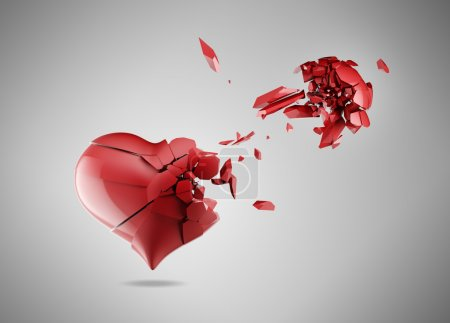Photo for Red broken heart isolated on gray - Royalty Free Image