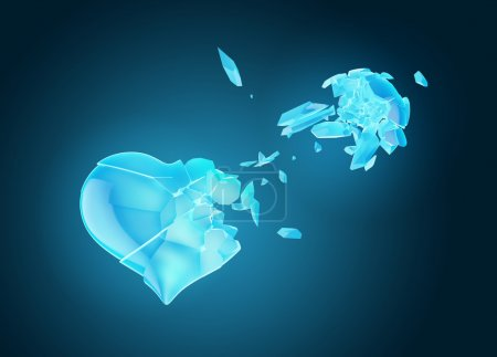 Photo for Ice broken heart isolated on blue - Royalty Free Image