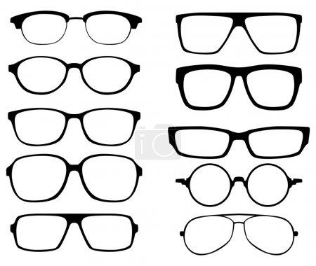 Glasses vector set. Retro, wayfarer, aviator frame...