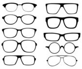 Glasses vector set Retro wayfarer aviator frames