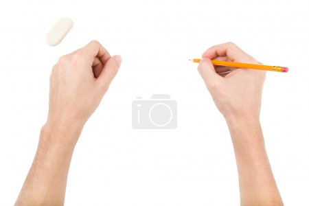 Photo pour Mains avec caoutchouc et crayon isolés sur fond blanc - image libre de droit