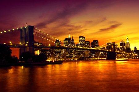 Photo for Brooklyn Bridge at sunset, New York - Royalty Free Image
