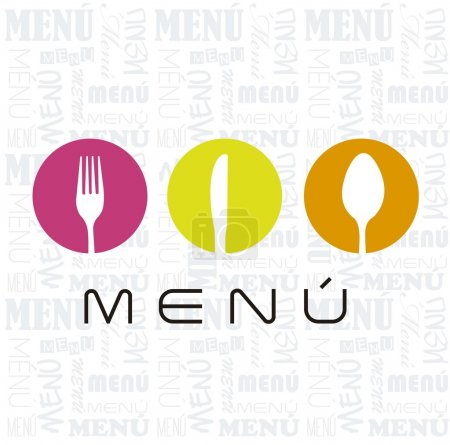 Illustration for Menu with cutlery sign over white background. vector illustration - Royalty Free Image