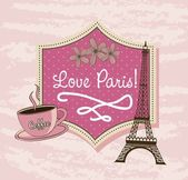 Love paris with tower eiffel and coffee over pink background vector illustration