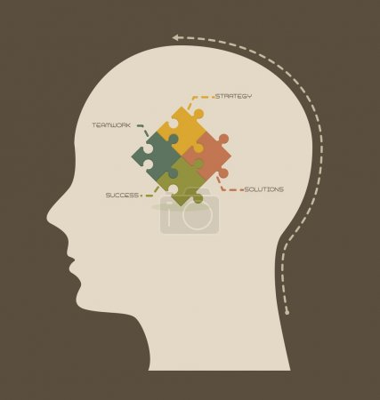 Illustration for Conceptual strategy and teamwork, thinking. vector illustration - Royalty Free Image
