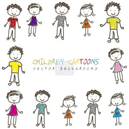 Illustration for Children cartoons over white background. vector illustration - Royalty Free Image
