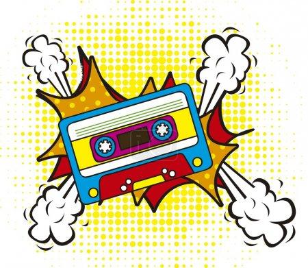 Illustration for Colorful cassette, pop art style. vector illustration - Royalty Free Image