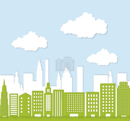 Illustration for Green buildigns over sky, ecology city. vector illustration - Royalty Free Image