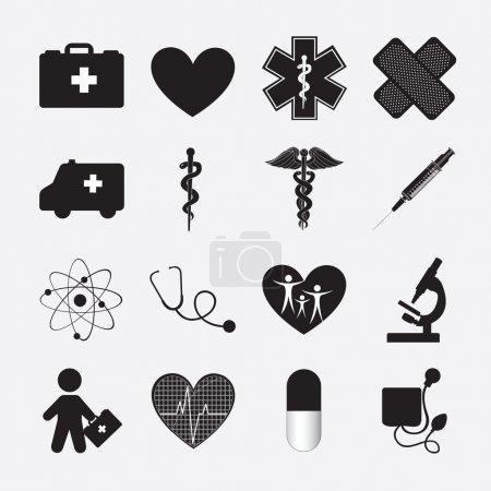 Illustration pour Silhouette de l'icône Santé sur fond blanc - image libre de droit