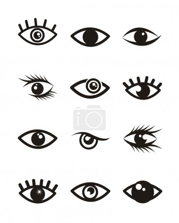 Illustration for Eyes icons over white background. vector illustration - Royalty Free Image