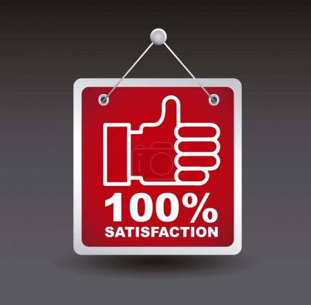 Illustration for Satisfaction label with good sign. vector illustration - Royalty Free Image