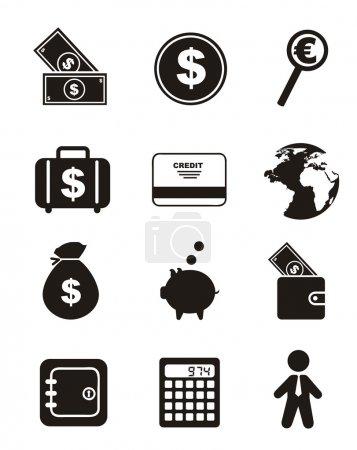 Illustration pour Icônes d'argent sur fond blanc. illustration vectorielle - image libre de droit