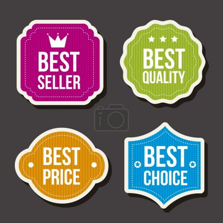 Illustration for Colorful labels over gray background. vector illutration - Royalty Free Image