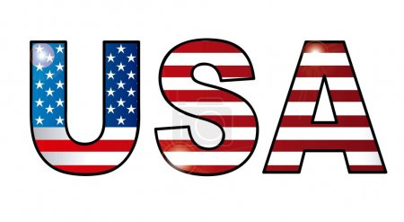 Illustration for Usa letter with united states flag. vector illustration - Royalty Free Image