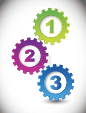 Illustration pour Engrenages avec des numéros sur fond blanc. illustration vectorielle - image libre de droit
