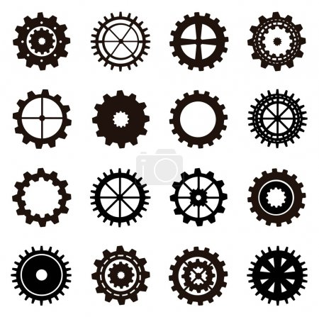 Illustration for Gears silhouette over white background. vector illustration - Royalty Free Image
