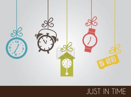 Illustration for VIntage clock icons over gray background vector illustration - Royalty Free Image