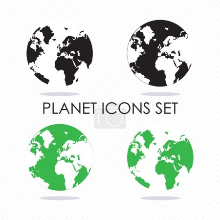 Illustration for Planet icons silhouettes, black and green. Vector illustration - Royalty Free Image
