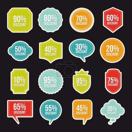Ilustración de Etiquetas de descuentos sobre fondo negro. ilustración vectorial - Imagen libre de derechos