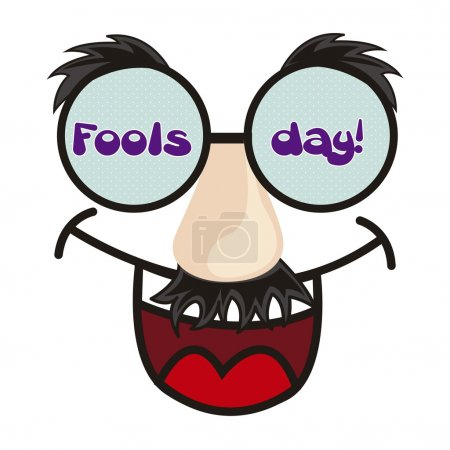 Illustration for April foods day illustration with fun face. vector background - Royalty Free Image