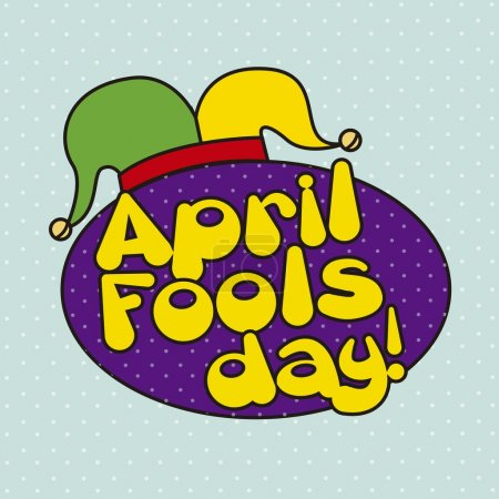Illustration for April foods day illustration with jester hat. vector background - Royalty Free Image