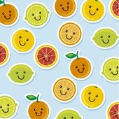 Cute citrus icons cartoons over blue background vector