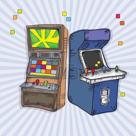 Illustration pour Machines de jeu d'arcade illustrées (set pour deux). Sur fond vintage - image libre de droit